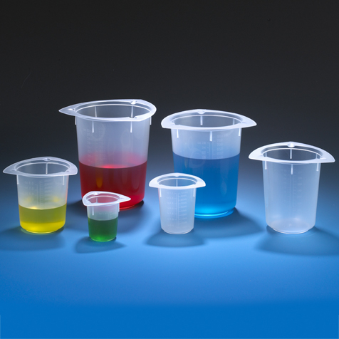 Economy Style Polypropylene Tri-Corner Beakers by Globe Scientific