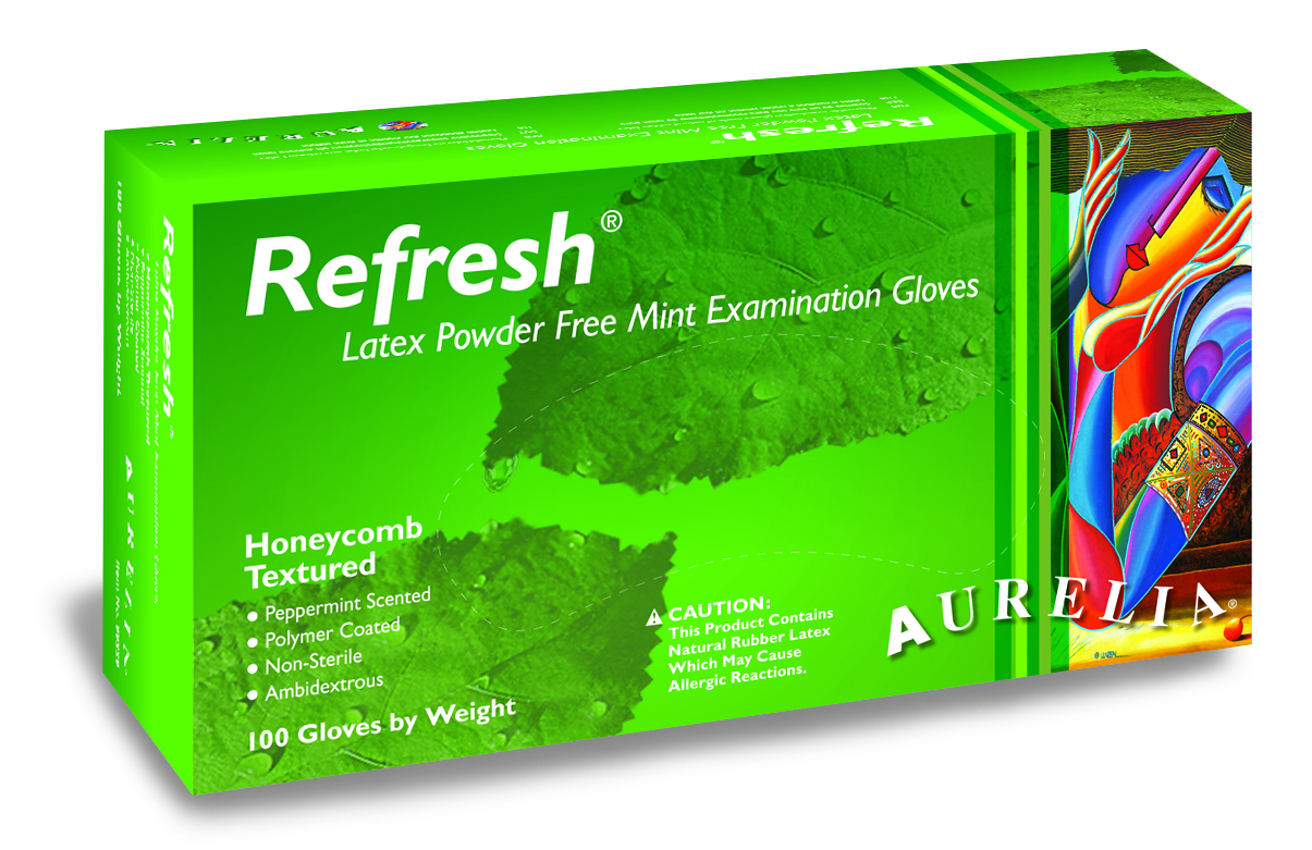 Aurelia Refresh Peppermint Scented Latex Gloves