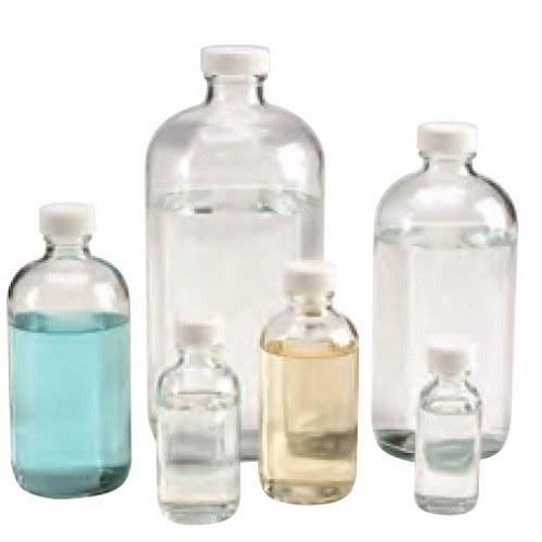 WHEATON Clear Glass Boston Round Bottles