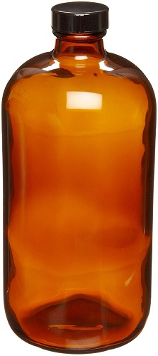 WHEATON Amber Glass Boston Round Bottles